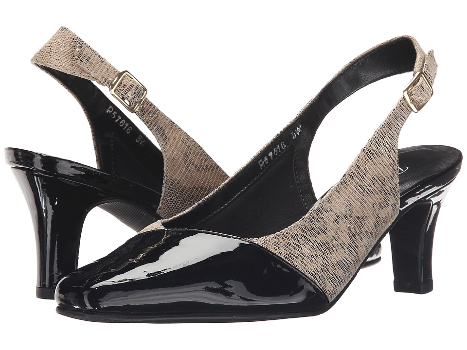 Rose Petals Ramona Taupe/Gold Lizard Print Womens Shoes