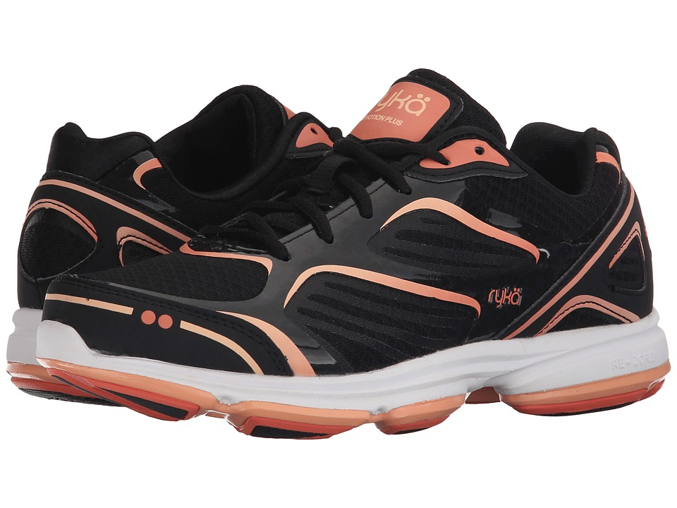 Ryka Devotion Plus Black/Fusion Coral/Peach Nectar Womens Shoes