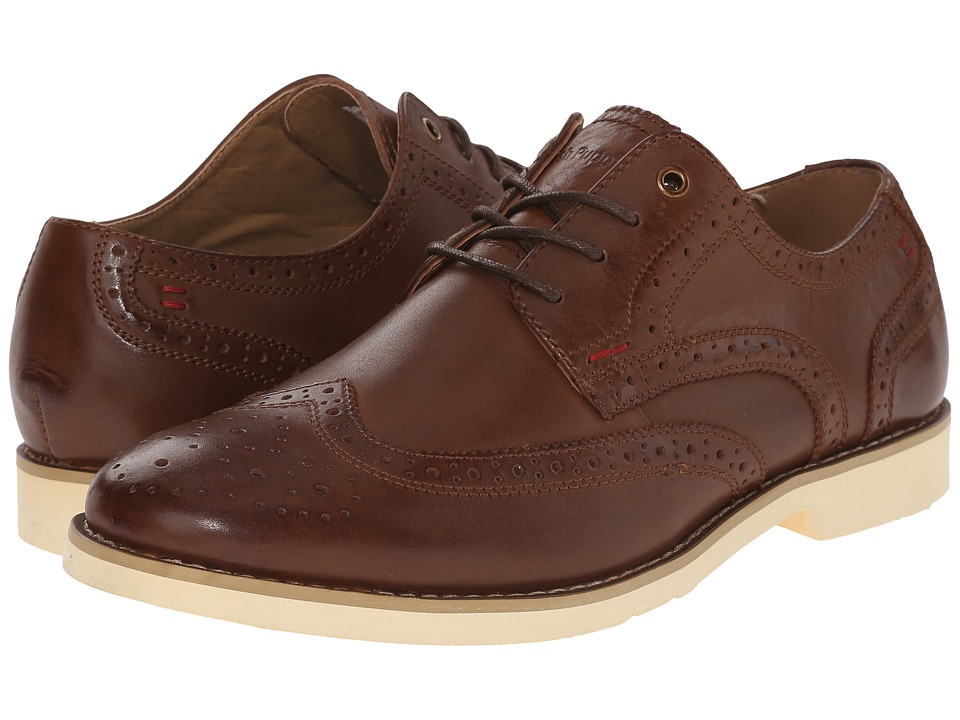 Hush Puppies Fowler EZ Dress Cognac Leather Mens Lace Up Wing Tip Shoes
