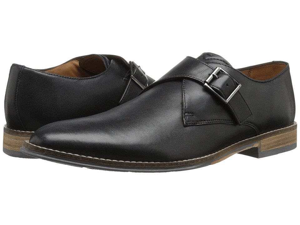 Hush Puppies Gaston Style Black Smooth Leather Mens Slip on Dress Shoes