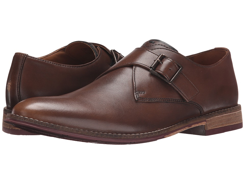 Hush Puppies Gaston Style Tan Smooth Leather Mens Slip on Dress Shoes