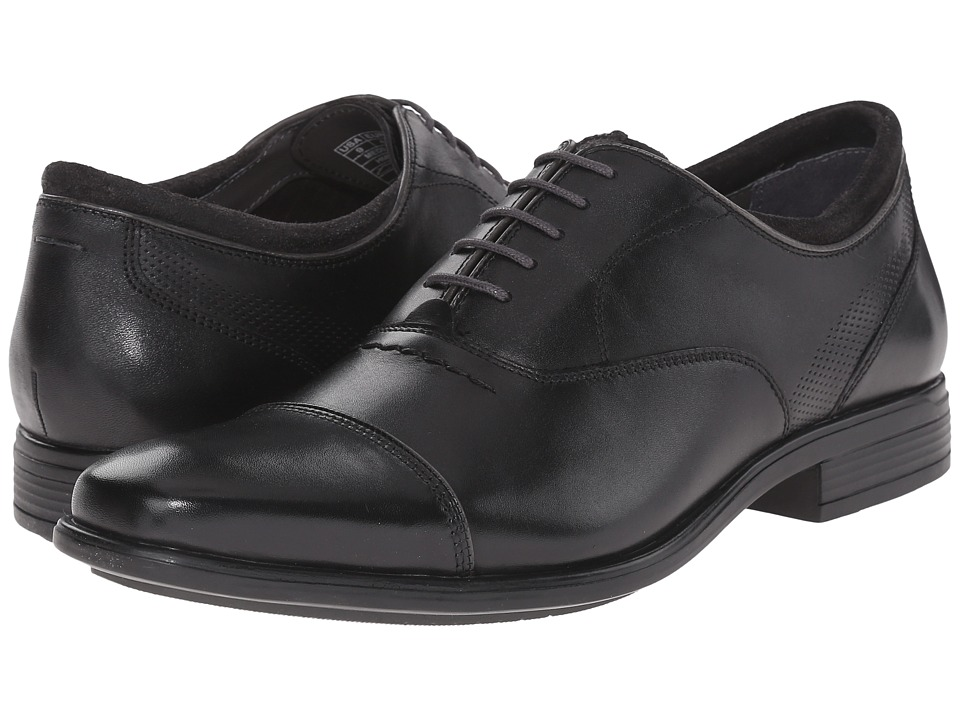 Hush Puppies Evan Maddow Black Leather Mens Lace Up Cap Toe Shoes