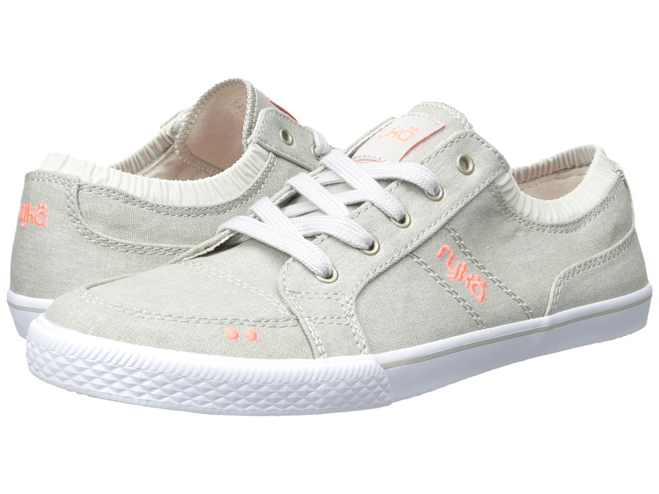 Ryka Emory Cool Mist Grey/Electric Coral/Chrome Silver Womens Lace up casual Shoes
