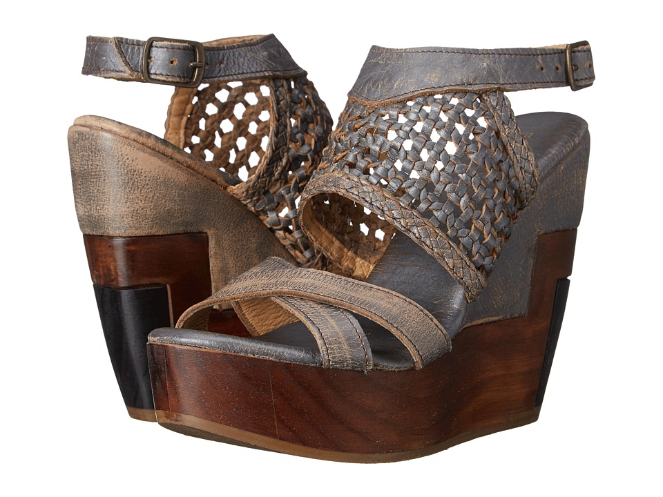 Bed Stu Petra Silver Lux Womens Wedge Shoes