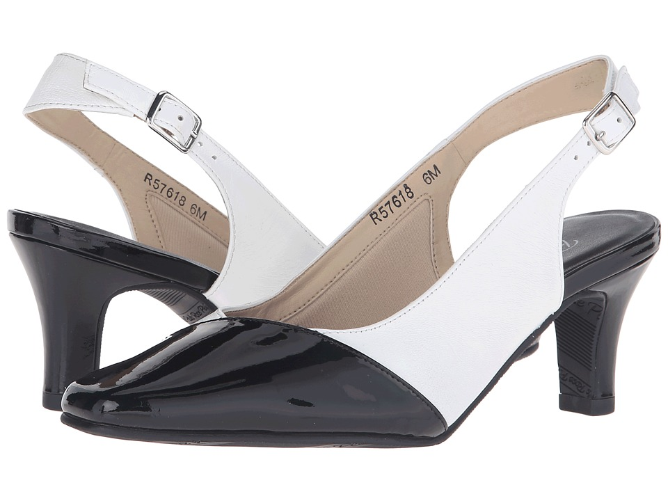 Rose Petals Ramona White Nappa/Black Patent Womens Shoes