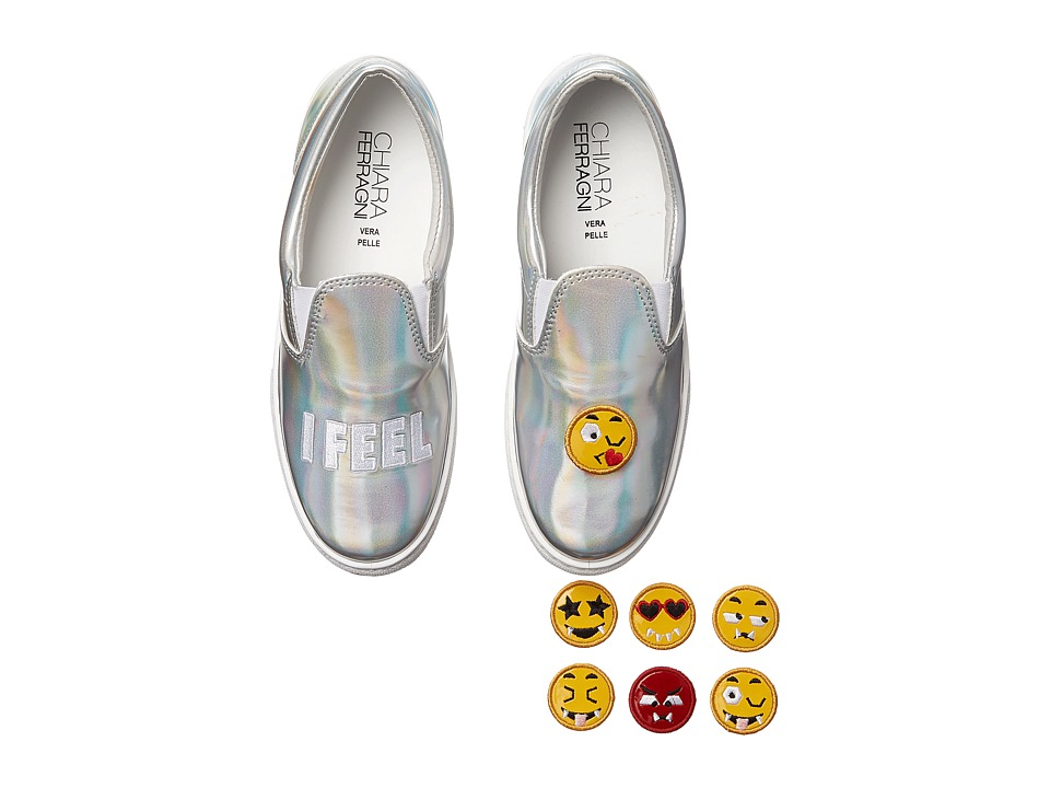 Chiara Ferragni Metallic Emoji Slip On Sneaker Silver Womens Shoes