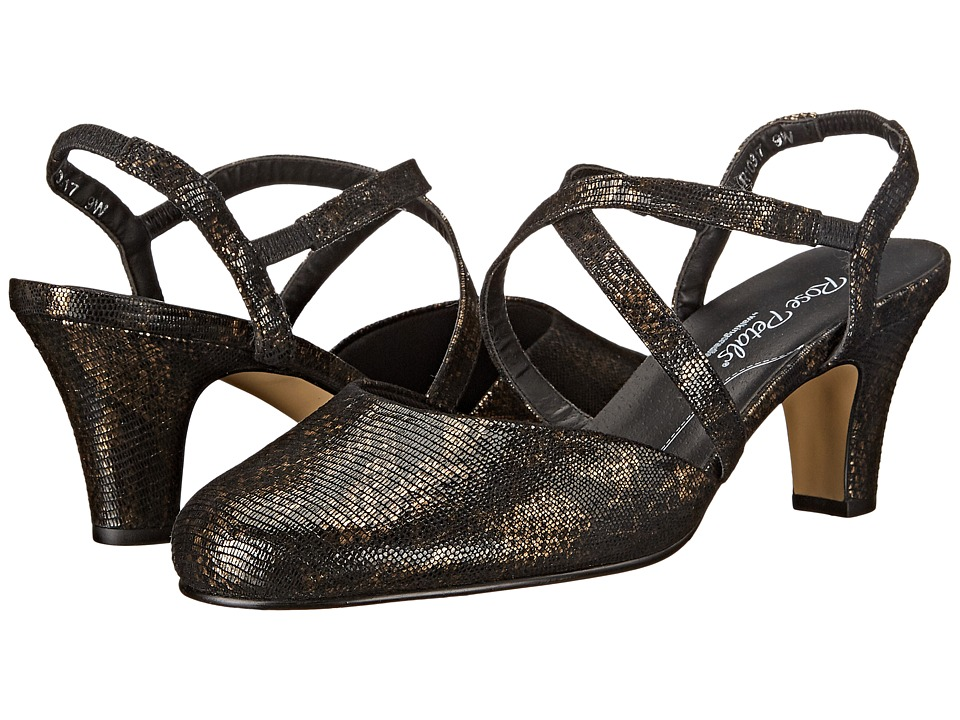 Rose Petals Caliente Black/Bronze Lizard Print Womens Shoes