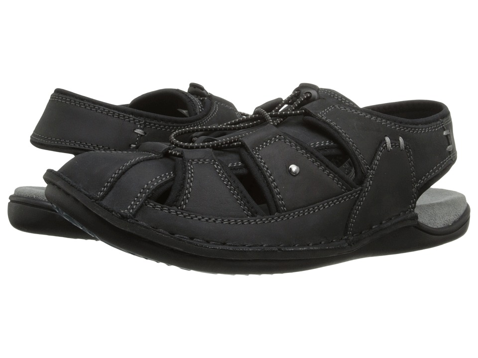 Hush Puppies - Bergen Grady (Black Waxy Leather) Mens Sandals