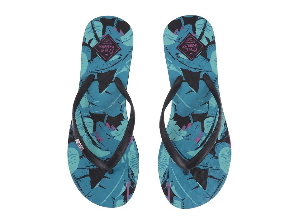 Freewaters Jess Print Black/Blue Leaves Womens Shoes
