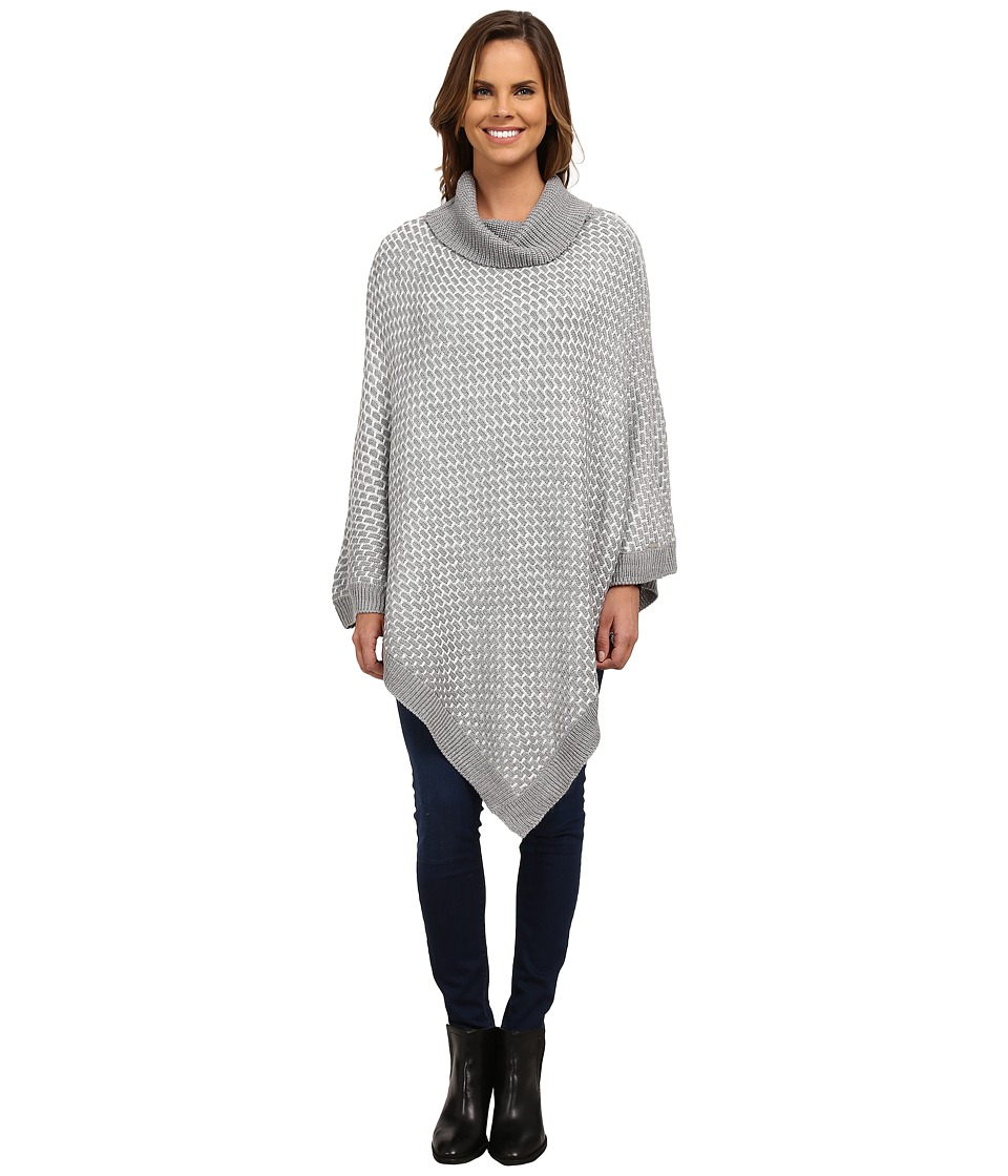 Calvin Klein - Brick Stitch Poncho (Heathered Mid Gray) Women's Sweater