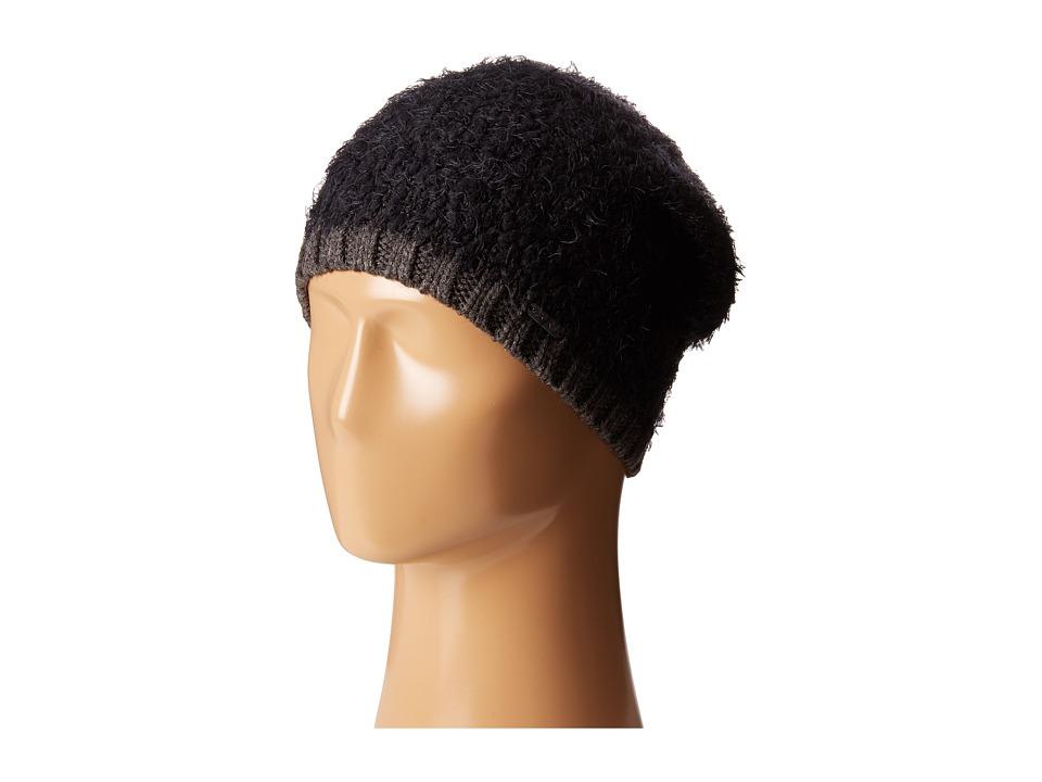 Calvin Klein Boucle Knit Slouchy Beanie w/ Contrast Rib Cuff Black Beanies