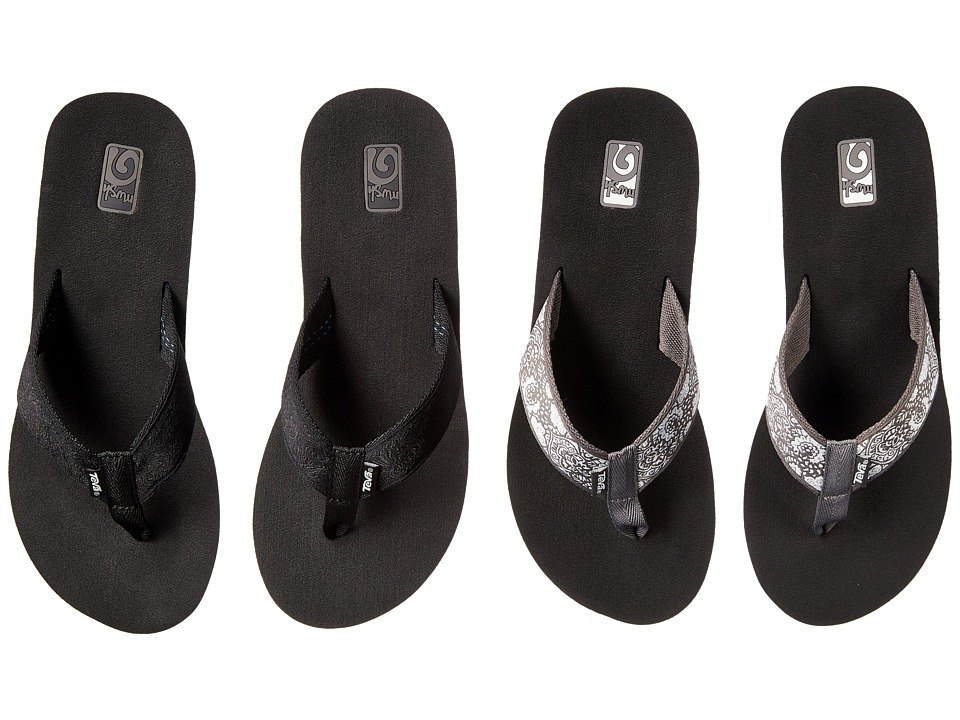 Teva Mush Mandalyn Wedge Two Pair Pack Motif Black/Harmony Silver Womens Sandals