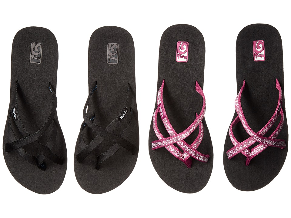 Teva Mandalyn Wedge Ola 2 Pack Black/Fleur Magenta Womens Sandals