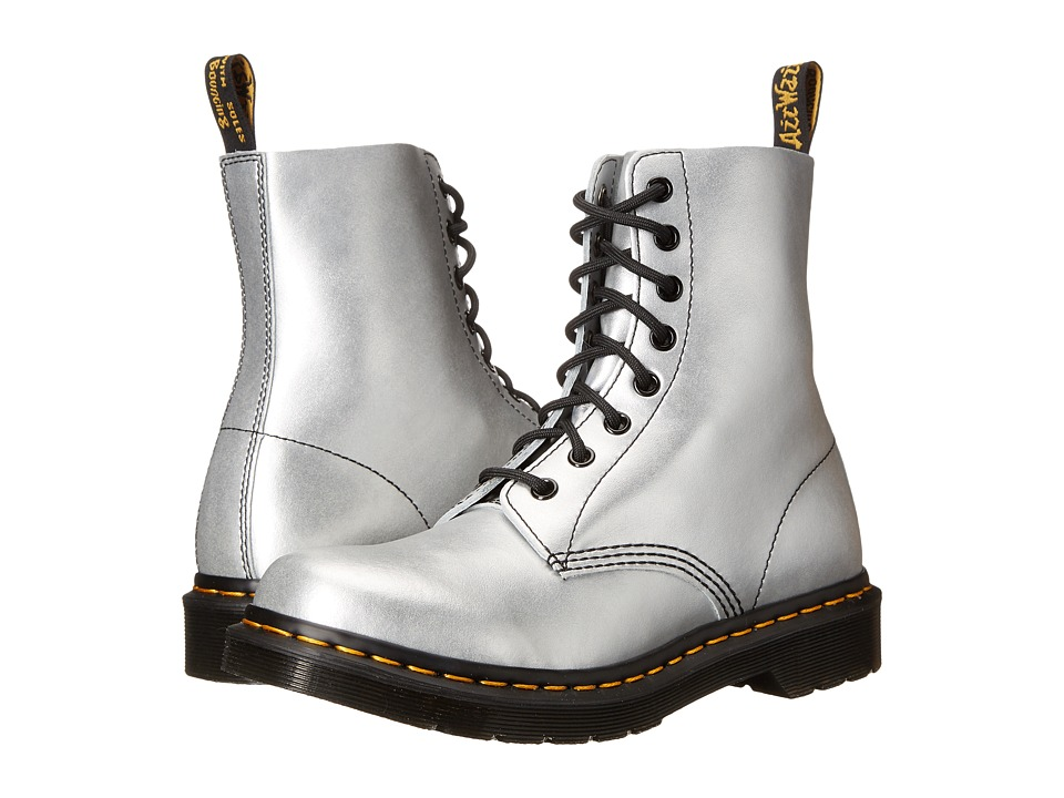 Dr. Martens Pascal 8 Eye Boot Silver Alumix Womens Lace up Boots