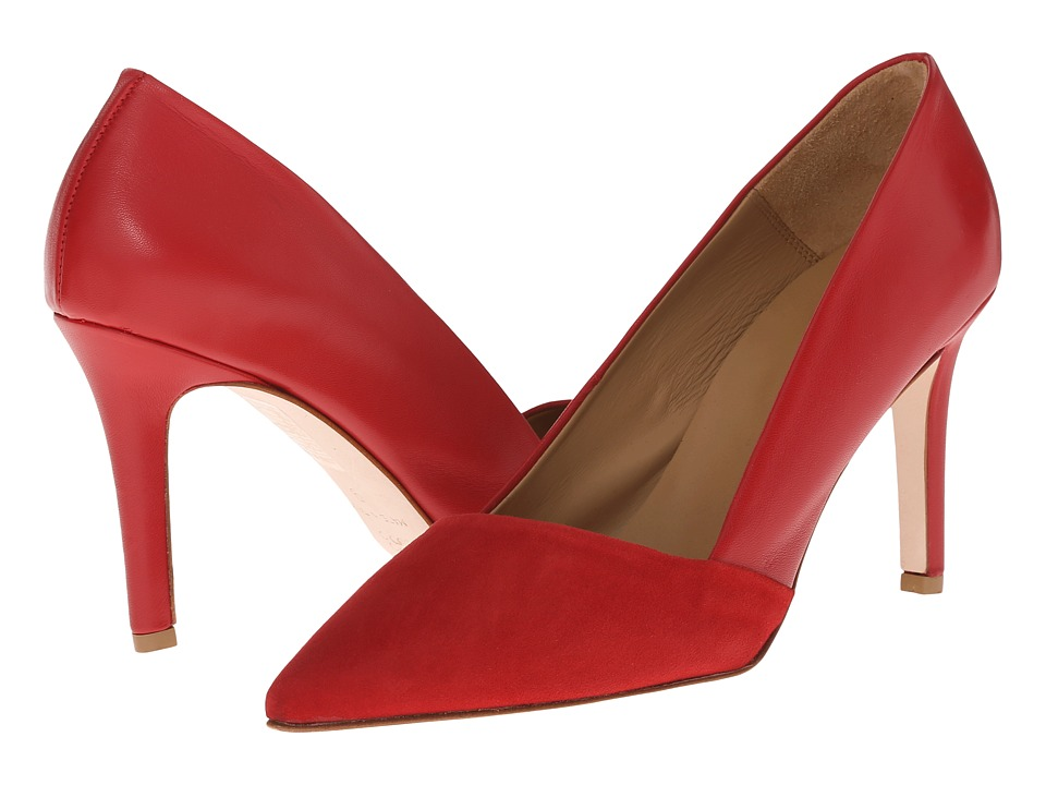 Massimo Matteo - Suede and Leather Pump (Red) Women's Shoes