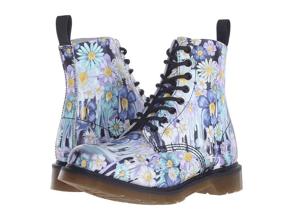 Dr. Martens Pascal 8 Eye Boot Purple Paint Slick Backhand Womens Lace up Boots