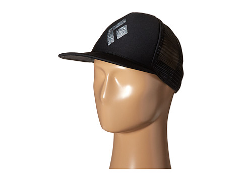 Black Diamond Flat Bill Trucker Hat - Black/White