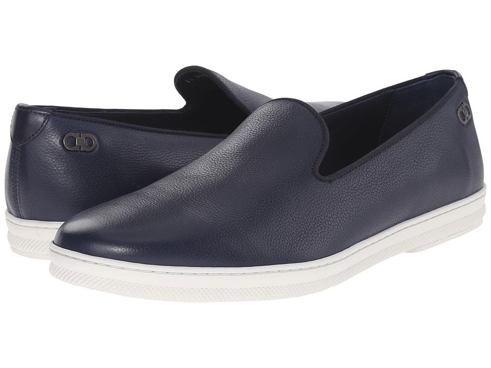 Salvatore Ferragamo Leblanc Moccasin Blue Marine Mens Moccasin Shoes