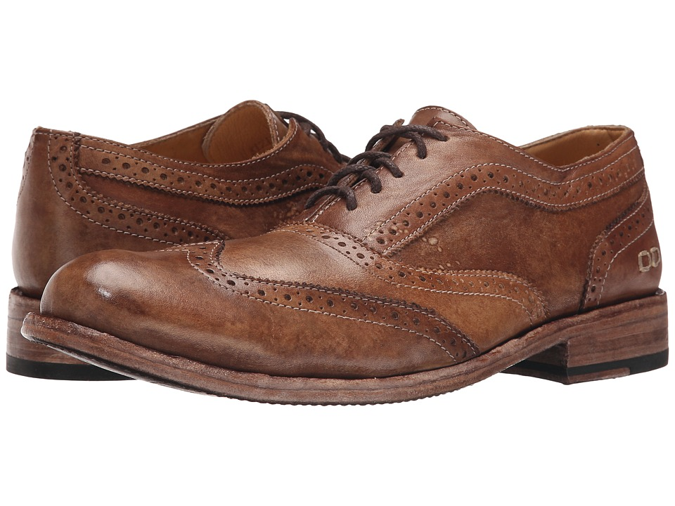 Bed Stu Corsico Tan Driftwood Leather Mens Lace Up Wing Tip Shoes
