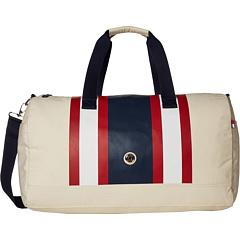 Tommy Hilfiger TH Stripes Painted Canvas Large Duffel Bag (Natural/Navy/Red)