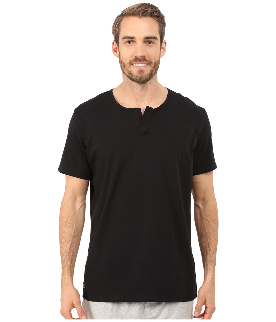 Lacoste Short Sleeve Henley Sleep Tee Black Mens Pajama