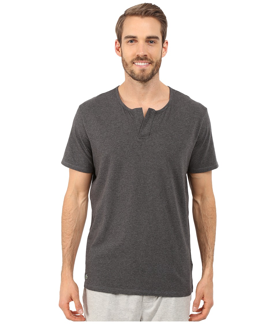 Lacoste Short Sleeve Henley Sleep Tee Charcoal Mens Pajama