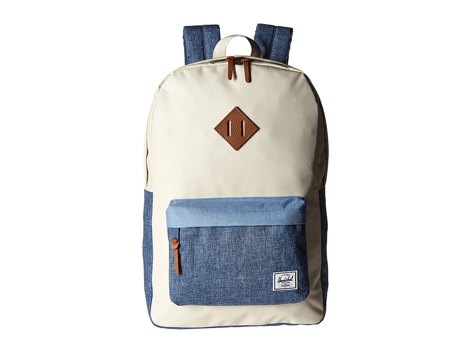 Herschel Supply Co. - Heritage (Natural/Chambray Crosshatch/Limogess Crosshatch/Tan Leather) Backpack Bags