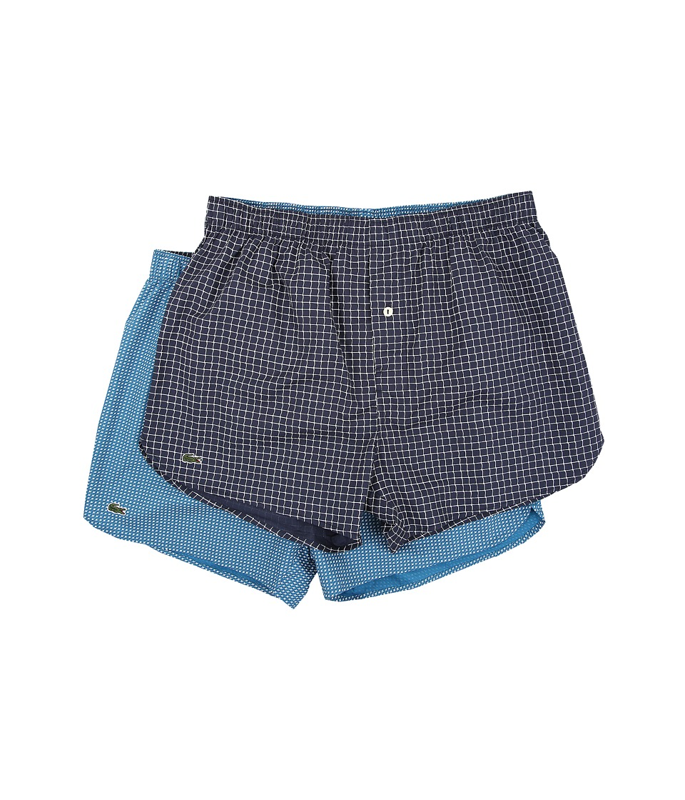 Lacoste 2 Pack Net/Airplane Woven Boxer Navy Mens Underwear