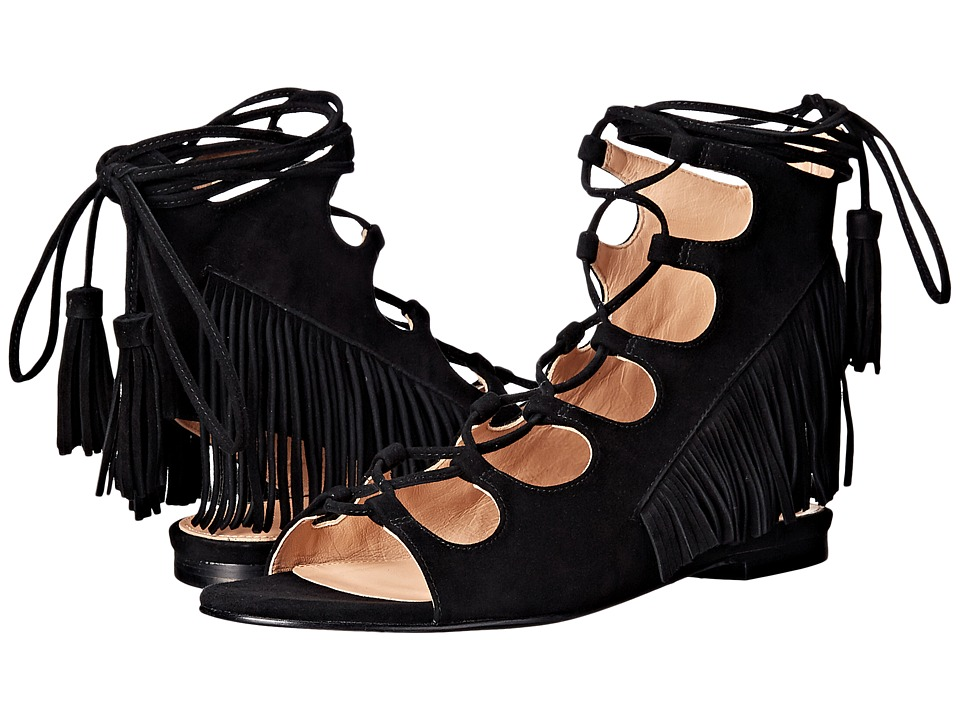 Sigerson Morrison Azzia Black Suede Womens Flat Shoes