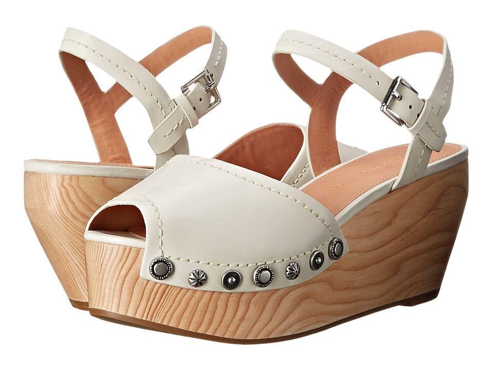 Sigerson Morrison Cailey Off White Leather Womens Wedge Shoes