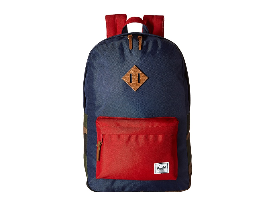 Herschel Supply Co. - Heritage (Navy/Woodland Camo/Red/Tan Leather) Backpack Bags