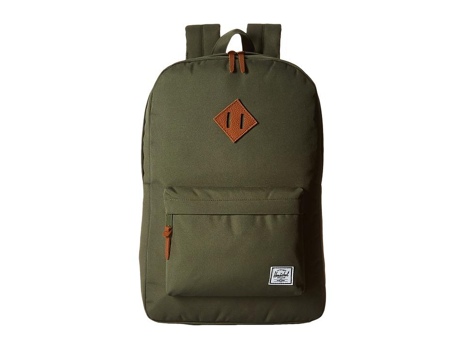 Herschel Supply Co. Heritage Deep Litchen Green/Tan Leather Backpack Bags