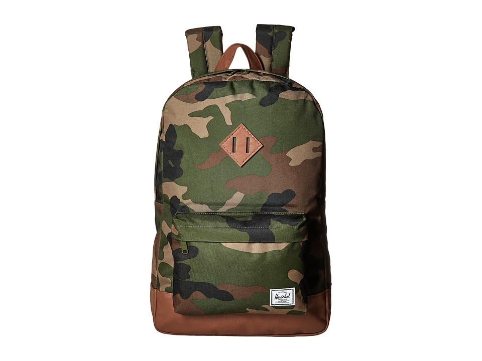 Herschel Supply Co. - Heritage (Woodland Camo/Tan Synthetic Leather) Backpack Bags