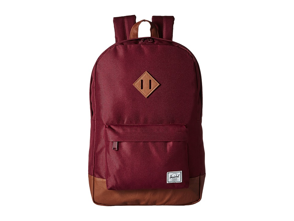 Herschel Supply Co. - Heritage (Windsor Wine/Tan Synthetic Leather) Backpack Bags