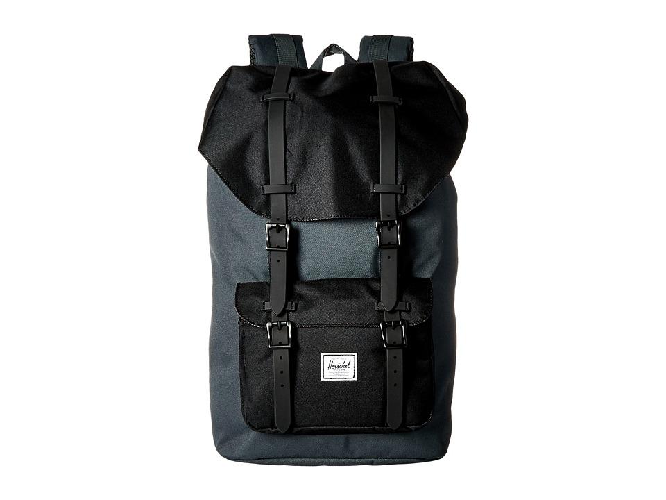 Herschel Supply Co. - Little America (Dark Shadow/Black/Black Leather) Backpack Bags
