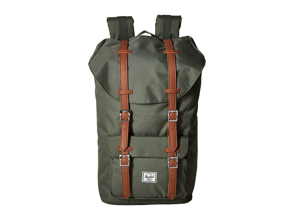 Herschel Supply Co. Little America Deep Litchen Green/Tan Synthetic Leather Backpack Bags