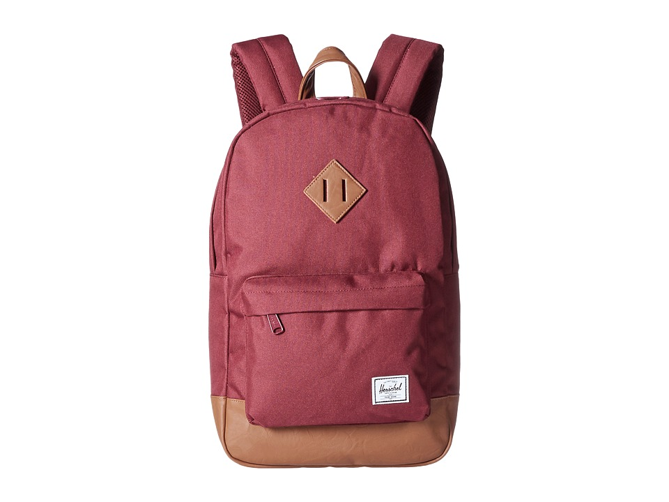 Herschel Supply Co. - Heritage Mid-Volume (Windsor Wine/Tan Synthetic Leather) Backpack Bags