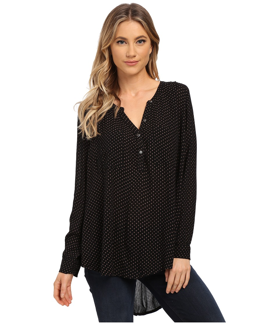 Amuse Society Amour Long Sleeve Woven Top Black Womens Long Sleeve Pullover