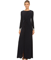 Vince Camuto - Long Sleeve Beaded Gown w/ Front Drape