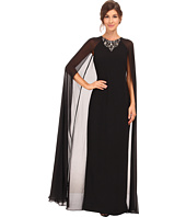 Vince Camuto - Fitted Crepe Gown w/ Chiffon Cape