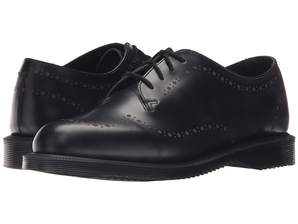 Dr. Martens Charlotte Etched Brogue Shoe Black Polished Smooth Womens Lace up casual Shoes