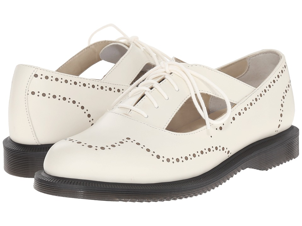 Dr. Martens - Ruby Open Etched Brogue Shoe Off-White Polished Smooth Womens Maryjane Shoes $125.00 AT vintagedancer.com