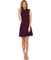 Vince Camuto - Cap Sleeve Solid Fit & Flare Dress with Black Jet Bead Trim