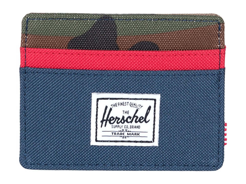 Herschel Supply Co. - Charlie (Navy/Red/Woodland Camo) Credit card Wallet