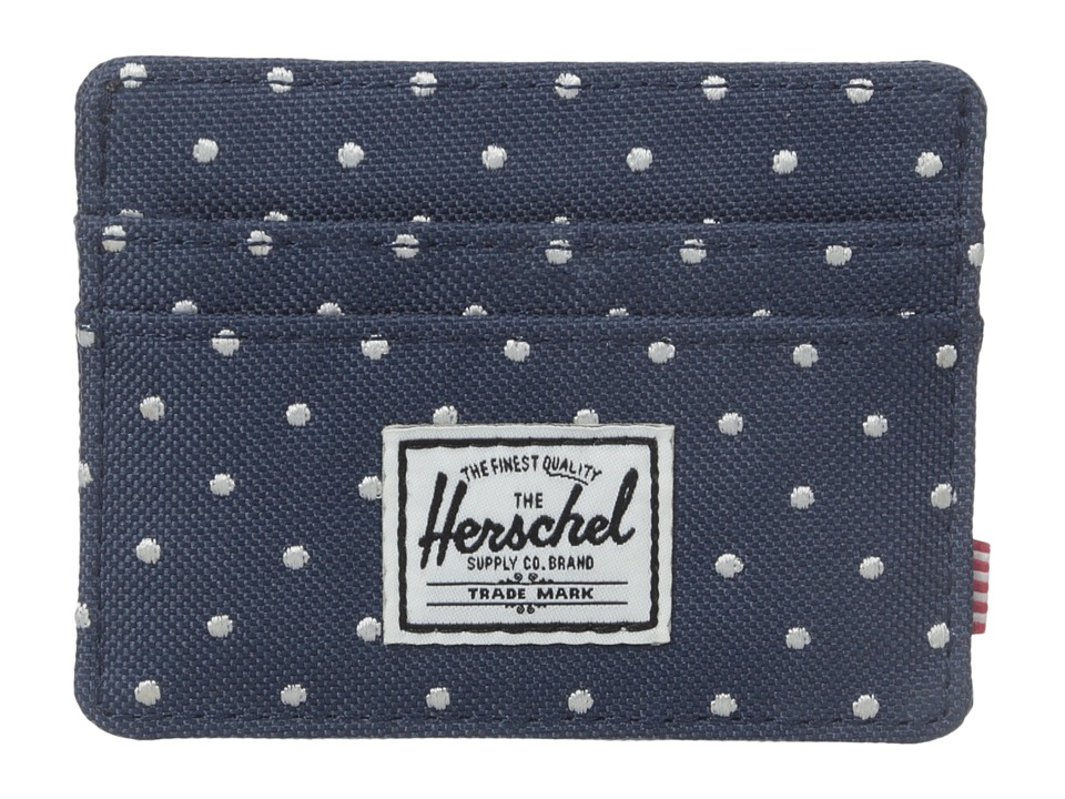 Herschel Supply Co. - Charlie (Navy Embroidery Polka Dot) Credit card Wallet