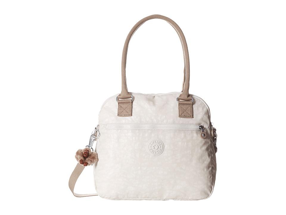 Kipling Cadie Handbag Lacquer Winter White Chestnut Combo Satchel Handbags