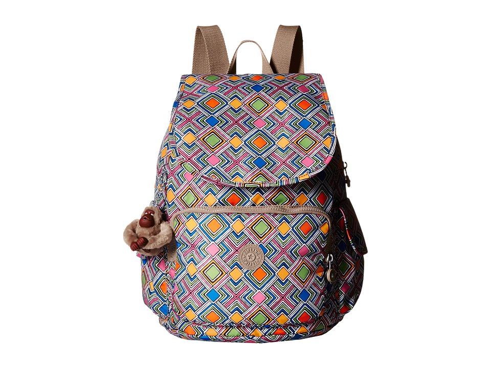 Kipling Ravier Printed Backpack Geometric Ember Backpack Bags