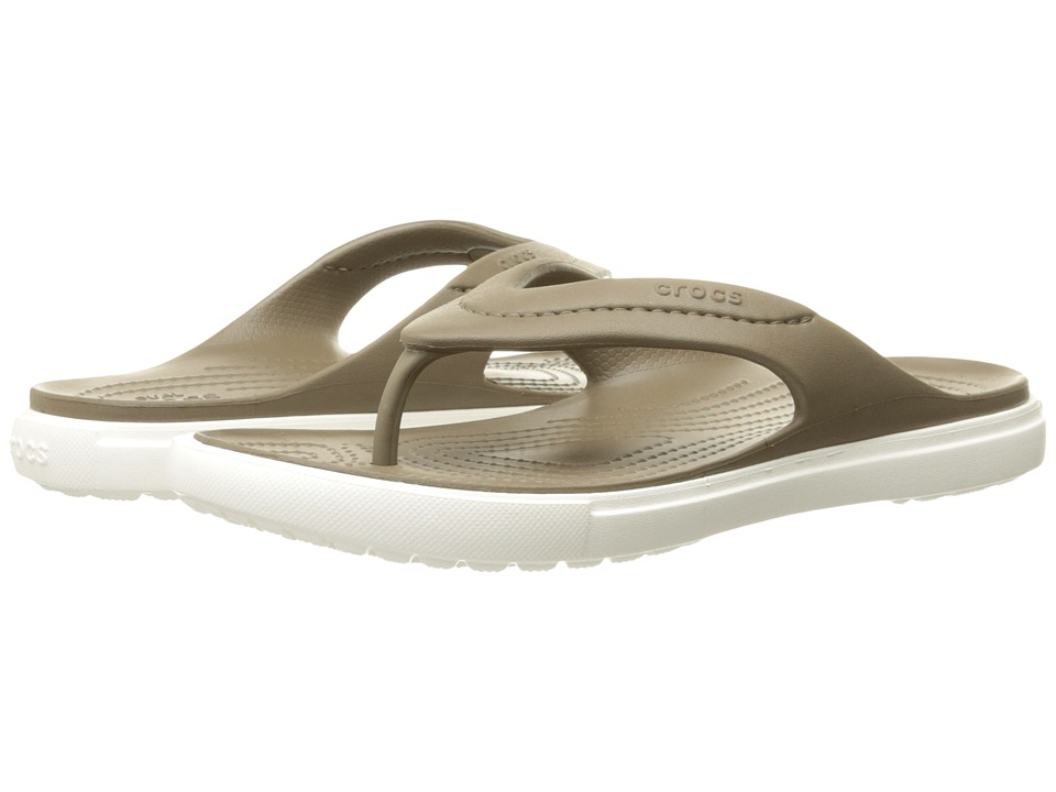 Crocs - CitiLane Flip (Walnut/White) Slide Shoes