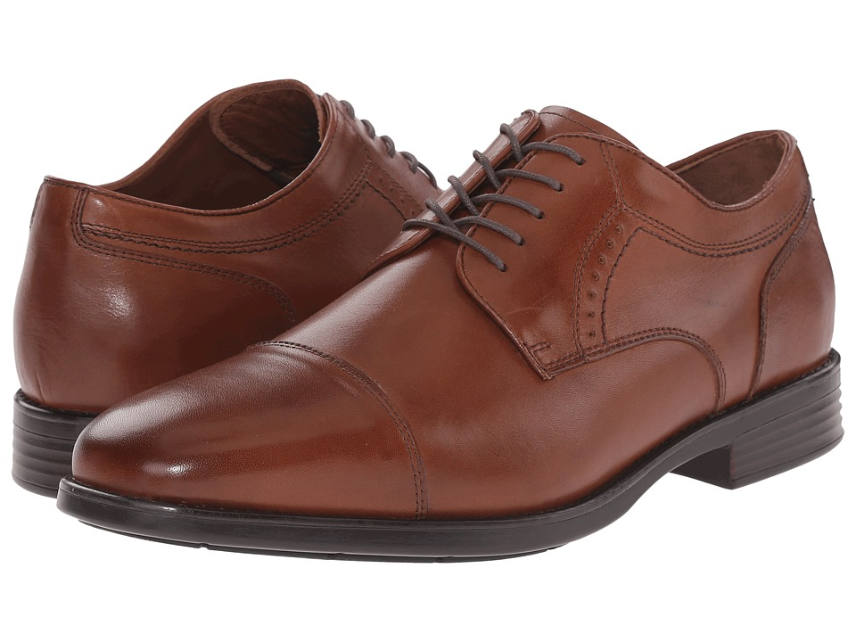 Johnston amp Murphy Branning Cap Toe Tan Waterproof Calfskin Mens Lace Up Cap Toe Shoes
