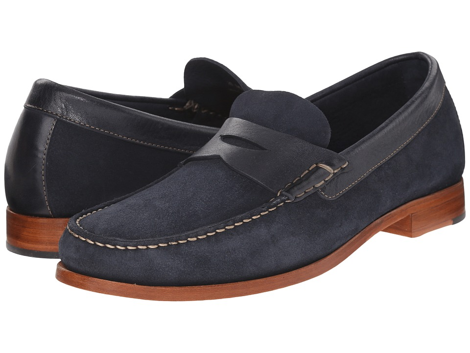 Johnston amp Murphy Danbury Penny Navy Water Resistant Full Grain Suede Mens Slip on Dress Shoes